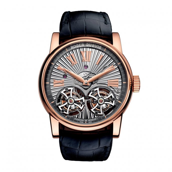 Roger Dubuis Hommage Double Tourbillon Volant avec mouvement en or rose guilloché main RDDBHO0563 - watch face view