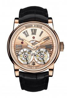Double Tourbillon Volant with pink gold Hand-made Guilloché movement