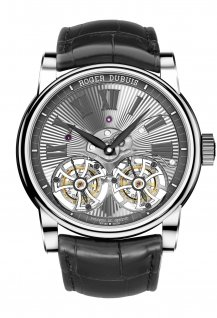 Double Tourbillon Volant en or gris guilloché main