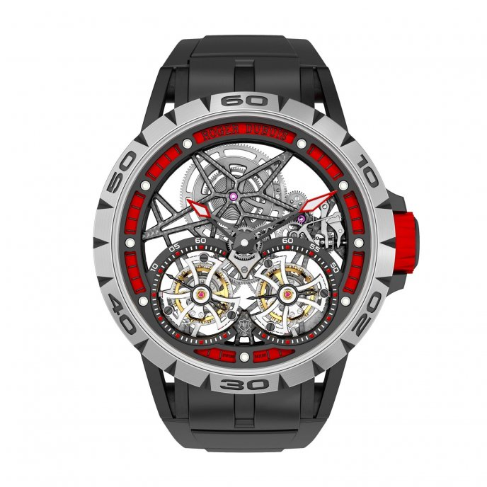 Roger Dubuis Excalibur Spider Double Tourbillon Volant Squelette watch face view