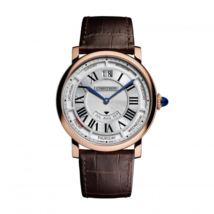 Rotonde de Cartier Annual Calendar Watch Pink Gold watch face view
