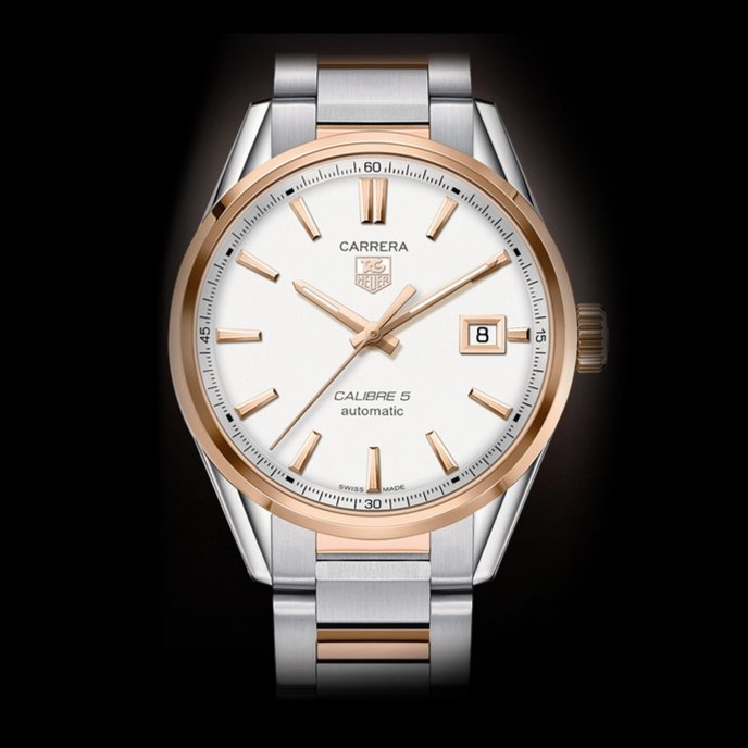 Tag Heuer Carrera Calibre 5 Automatic Steel Rose Gold Watch-face-view